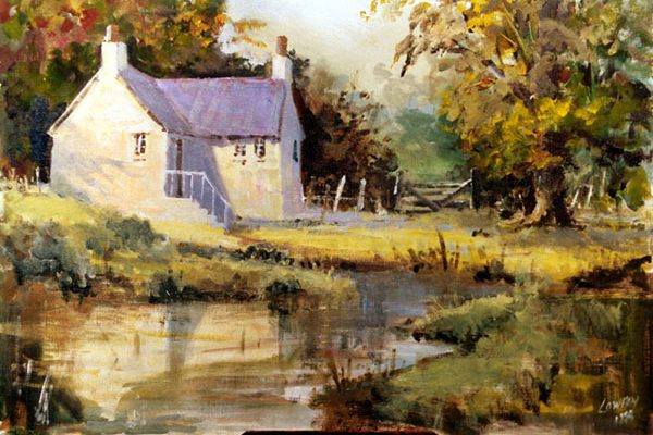 Cottage and pond in oils s